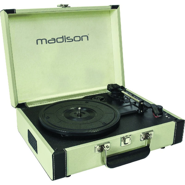 Madison MAD-RETROCASE-CR Vintage Turntable Case with Bluetooth, USB, SD & Rec Function - Cream