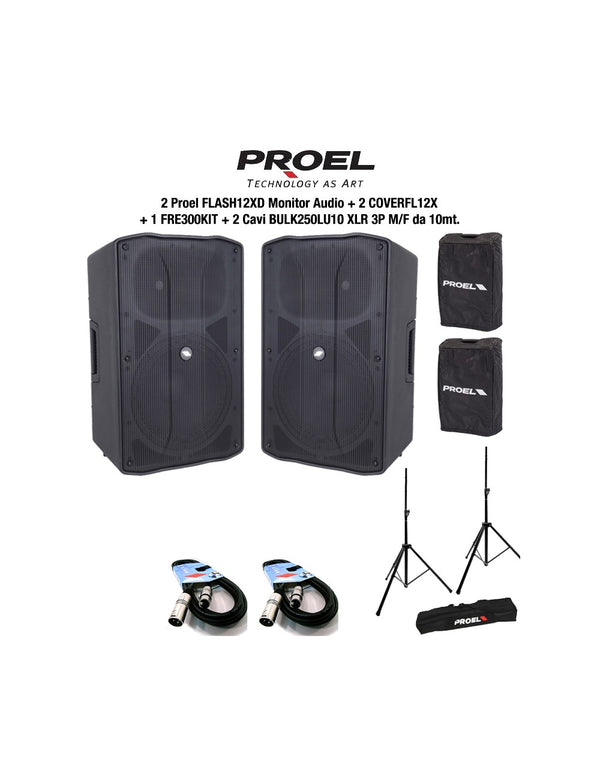 Proel FLASH12XD 2 Casse + 2 CoverFL12X + 1 Fre300Kit Stativi + 2 BULK250LU10
