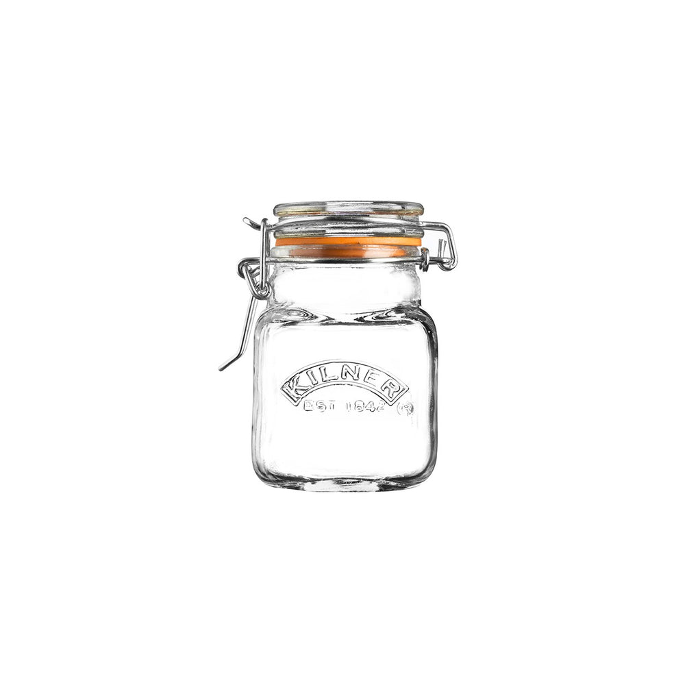 Reusable Glass Clip Top Square Spice Jar 70 ML, Min. Order (Pack of 10 pieces)