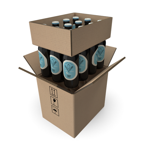 100% Recycled Brown Cardboard 12 Beer Bottles Box 265x205x235 (L x W x H) - The sustainable sourcing company