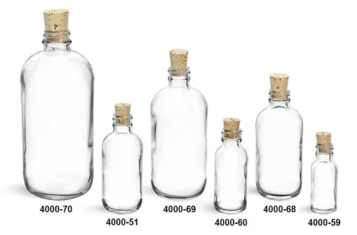 Reusable Glass Boston Rounds Bottle and Cork Stoppers, Min. Order (Pack of 10 pieces)