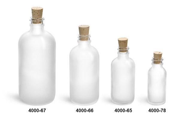 Reusable Frosted Glass Boston Round Bottles and Cork Stoppers, Min. Order (Pack of 10 pieces)