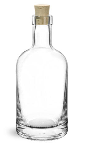Reusable Glass Bar Top Bottles 375 ml and Cork Stoppers, Min. Order (Pack of 10 pieces)