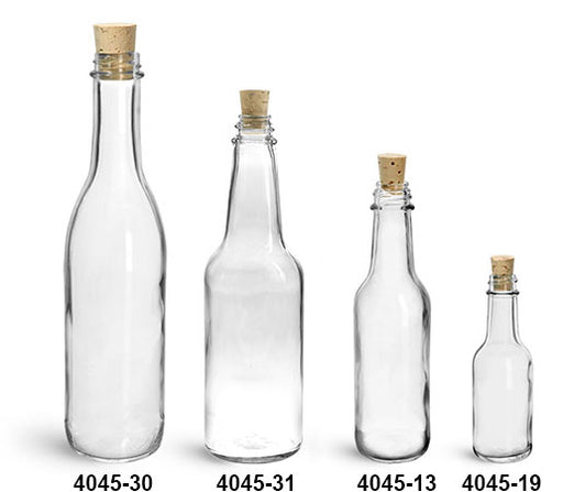 Reusable Glass Woozy Bottles and Cork Stoppers, Min. Order (Pack of 10 pieces)