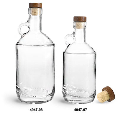 Reusable Glass Moonshine Bottles and Stained Wood Bar Tops and Natural Corks, Min. Order (Pack of 10 pieces)