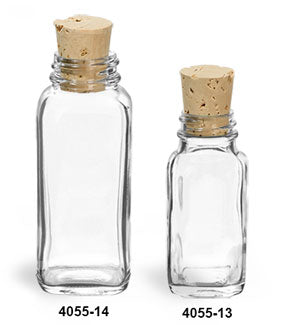 Reusable Glass French Square Glass Bottles and Cork Stoppers, Min. Order (Pack of 10 pieces)