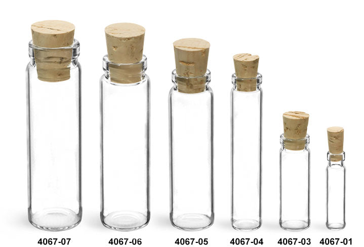 Reusable Glass Lip Vials Bottles and Cork Stoppers, Min. Order (Pack of 10 pieces)