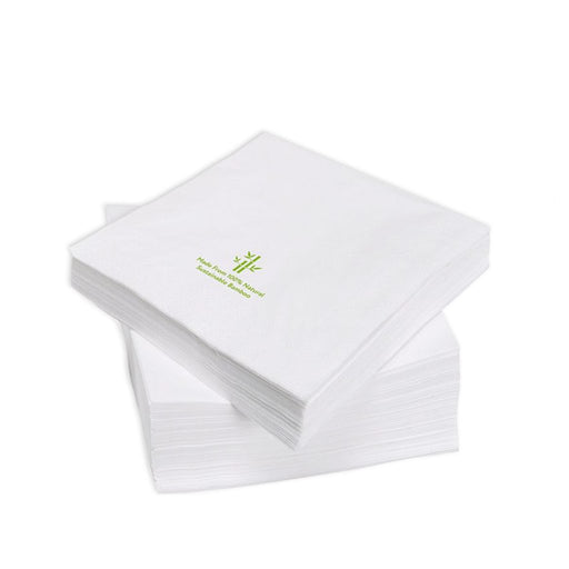100% Bamboo 1/4 Fold Cocktail Napkins White, Min. Order (Pack of 10 pieces)