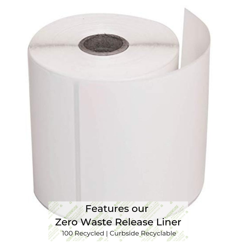 "100% Recycled 4"" x 6"" Zero Waste Liner Direct Thermal Label Industria, Min. Order (Pack of 10 pieces)"