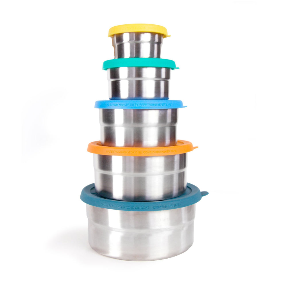 Reusable Stainless Steel Seal Cup 5 Set Blue Water Bento Box, Min. Order (Pack of 10 pieces)