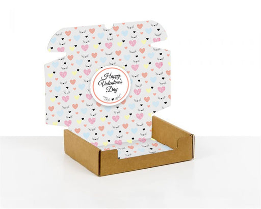 100% Recycled Boxes with Happy Valentine's Hearts, Min. Order (Pack of 100 pieces)