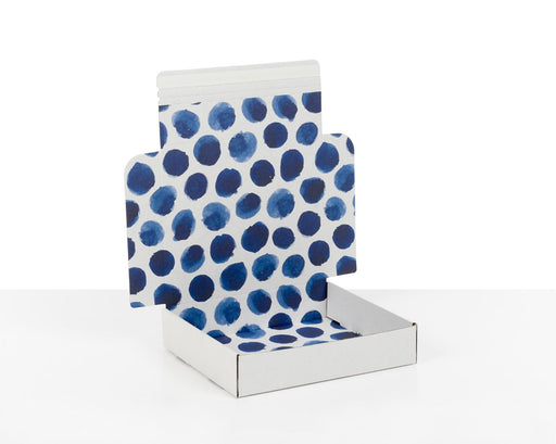 100% Recycled Boxes with Indigo Blue Dots, Min. Order (Pack of 100 pieces)