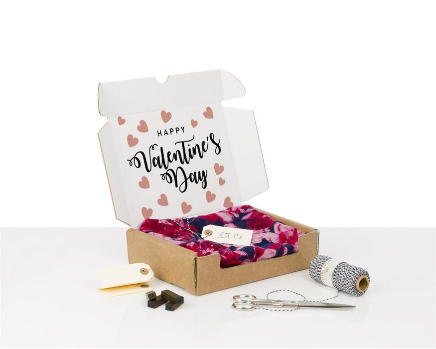 100% Recycled Brown/White Boxes with Happy Valentine's Day - The sustainable sourcing company