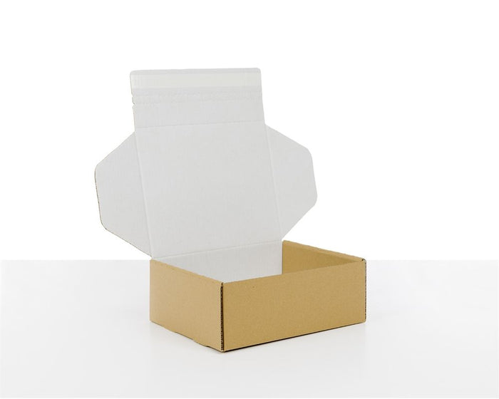 100% Recycled Postal Boxes with Adhesive Closure Brown and White, Min. Order (Pack of 25 pieces)
