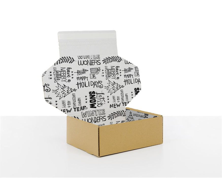 100% Recycled Boxes with Christmas Pattern - The sustainable sourcing company