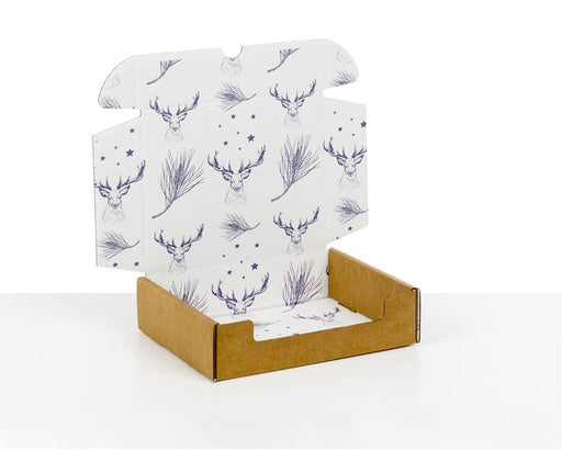 100% Recycled Boxes with Xmas Deer Print, Min. Order (Pack of 100 pieces)