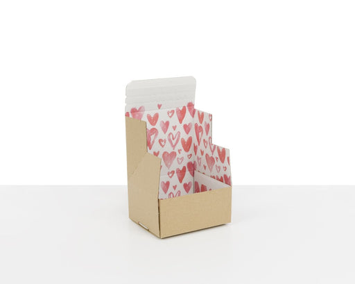 100% Recycled Boxes with Watercolour Hearts Print, Min. Order (Pack of 100 pieces)