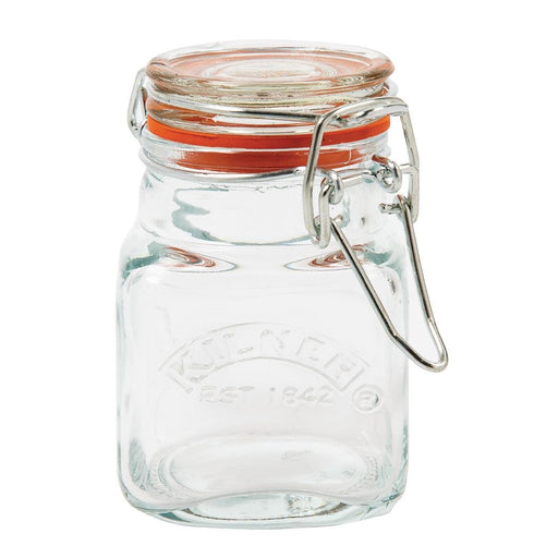 Reusable Glass Square Clip Top Spice Jar 70ml, Min. Order (Pack of 10 pieces)