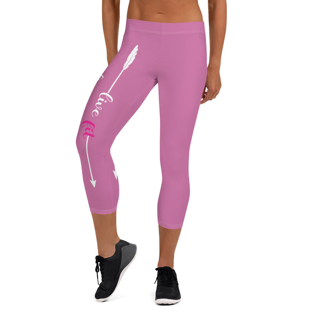 Live Fit, Live Empowered, Live Unstoppable (Pink, White Logo)Women's Fitness Capri Leggings