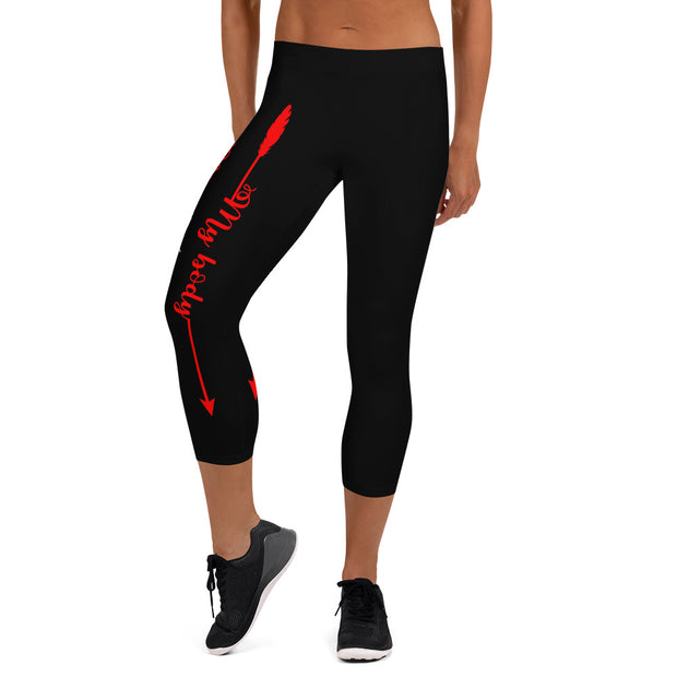 Your Body, Your Fitness Goals Your Way (Black, Red, White Logo) Women's Fitness Capri Leggings