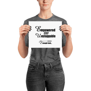 Empowered and Unstoppable Women's Empowerment Poster