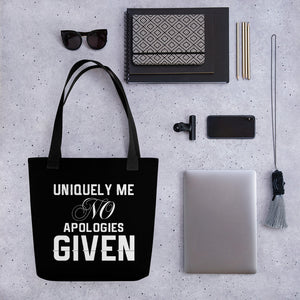 Uniquely Me No Apologies Given Women's Empowerment Tote Bag