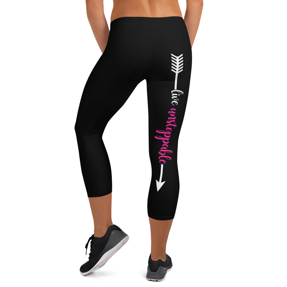Live Fit, Live Empowered Live Unstoppable(Pink, Black, White Logo) Women's Fitness Capri Leggings