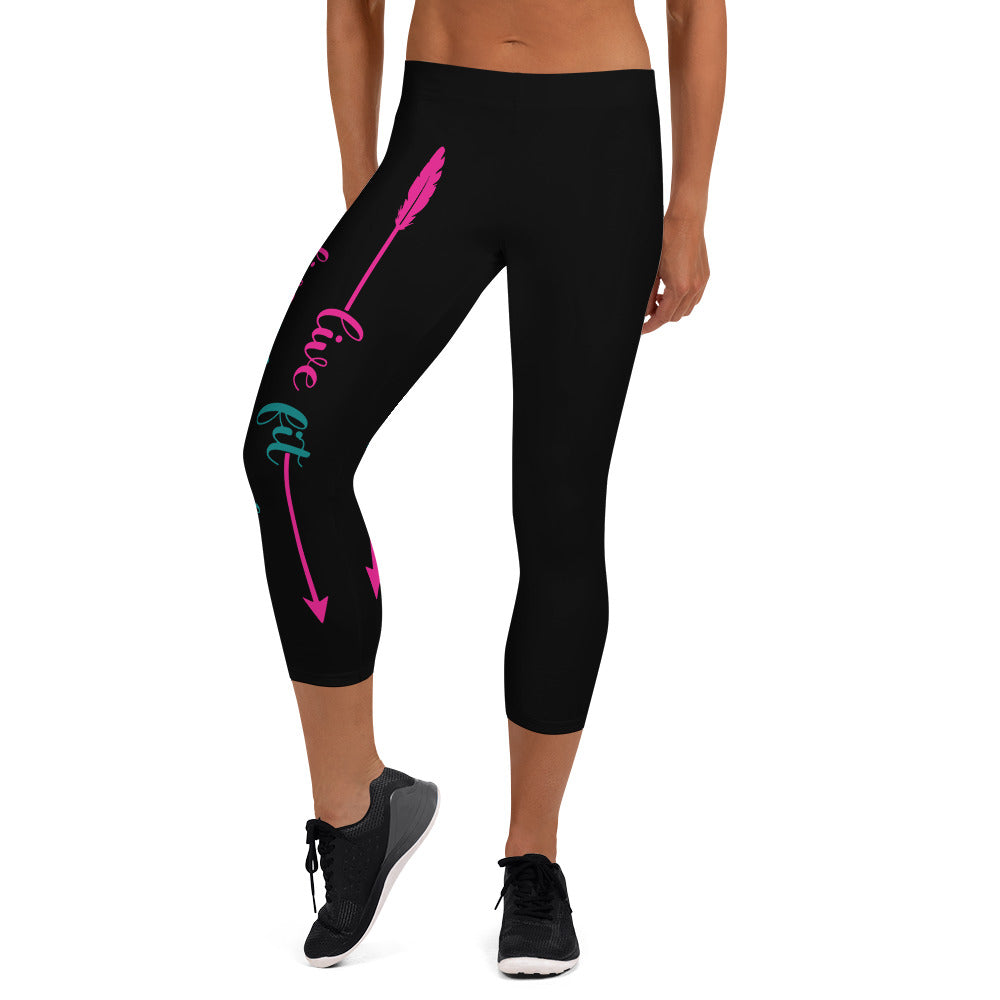 Live Fit, Live Empowered, Live Unstoppable (Pink & Blue Logo)Women's Fitness Capri Leggings