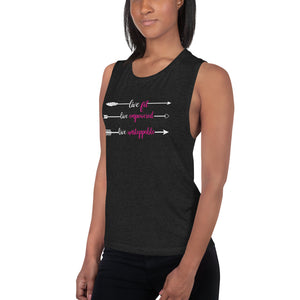 Live Fit Live Empowered Live Unstoppable Fitness T-Shirt (Pink & White Logo)