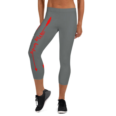 My Body, My Fitness Goals My Way (Grey,White, Red Logo)Women's Fitness Capri Leggings