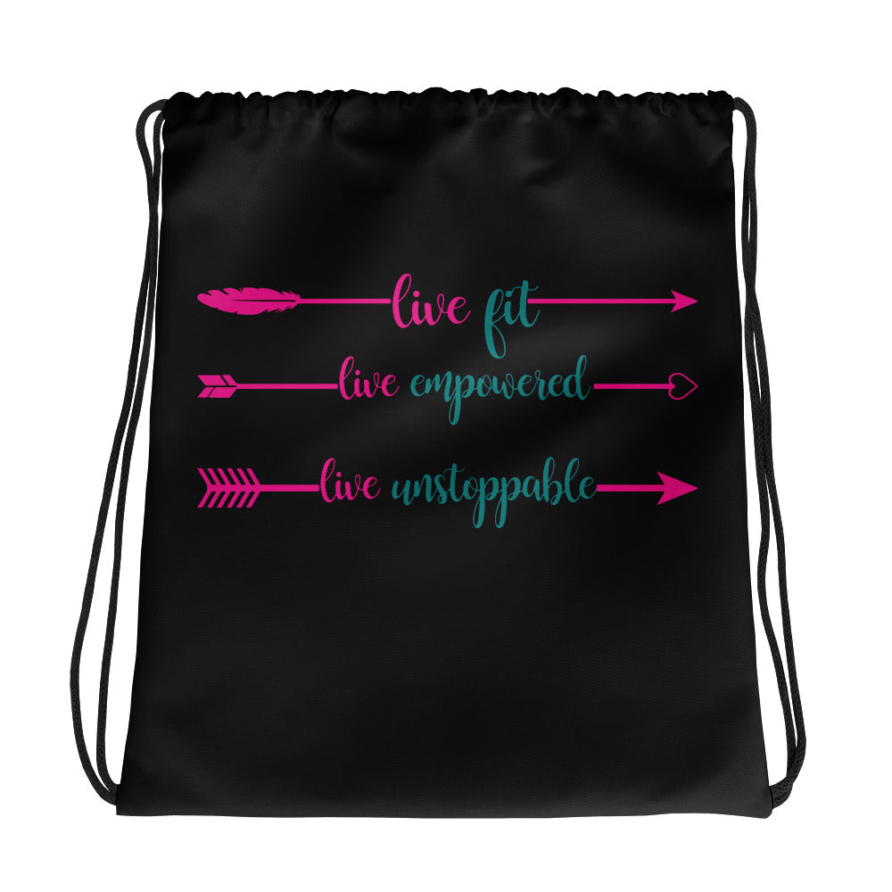 Live Fit, Live Empowered Live Unstoppable Women's Fitness Gym Bag