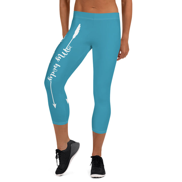 My Body, My Fitness Goals, My Way (Blue,White Logo) Women's Fitness Capri Leggings