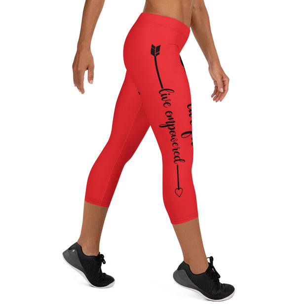 Live Fit, Live Empowered, Live Unstoppable(Red,Black Logo) Women's Fitness Capri Leggings