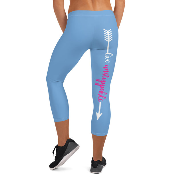 Live Fit, Live Empowered, Live Unstoppable (Blue, White Logo)Women's Fitness Capri Leggings