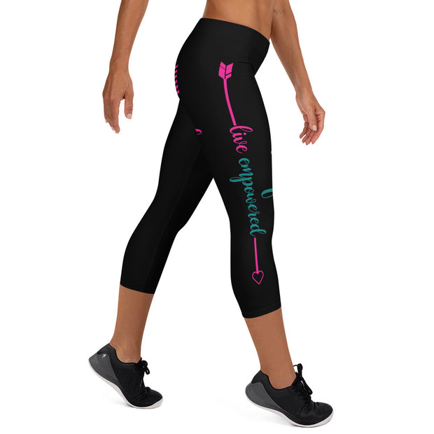 Live Fit, Live Empowered, Live Unstoppable (Pink, Black, Blue Logo)Women's Fitness Capri Leggings