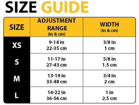 Sizechart, Sizetable of collar sizes in inch and cm. Size XS to L