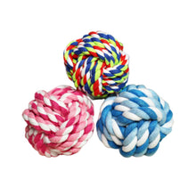 Preview Image: three cotton dog toy balls to play and clean their teeth with health and act benefits..