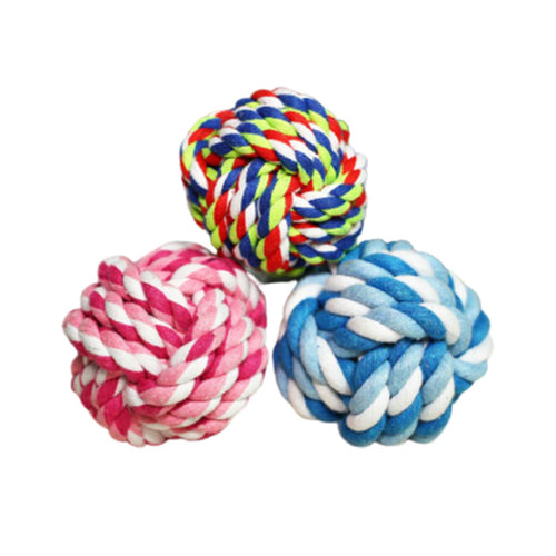 three cotton dog toy balls to play and clean their teeth with health and act benefits..
