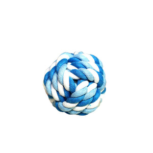 Blue cotton dog toy ball to play and clean their teeth with health and act benefits