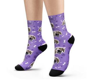 Feet with Lila Customized / Personalized socks printed with a dog head and bones.