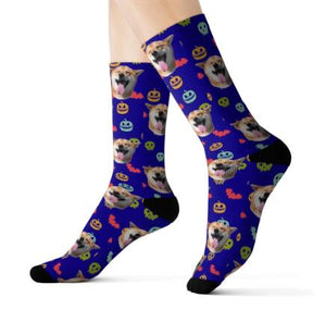 Feet with Lila Customized / Personalized socks printed with a dog head and halloween style.