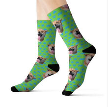 Preview Image: Feet with Green Customized / Personalized socks printed with a dog head and bones.