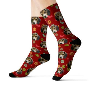 Feet with Red Customized / Personalized socks printed with a dog head and Halloween style.
