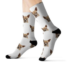 Preview Image: Feet with white Customized / Personalized socks printed with a dog heads.