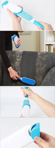 Women using fur brush hair remover to remover pet fur from the sofa.