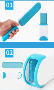 How does the fur brush hair remover works. Hand with brush and mobile brush