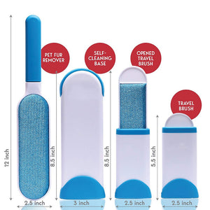 Sizechart and demonstration of fur brush hair remover in blue. 2 pcs inside of the package