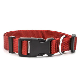 Red high quality nylon dog collar with stainless steel D-Ring.