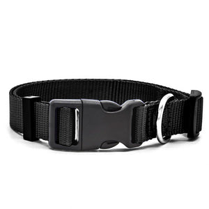Black high quality nylon dog collar with stainless steel D-Ring.