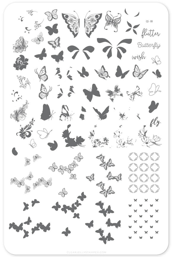 Stamping Plate Large - Butterfly Wishes CJS-80